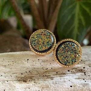 Druzy Earrings with gold posts